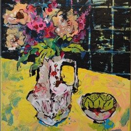 """White Vase on yellow Table"""